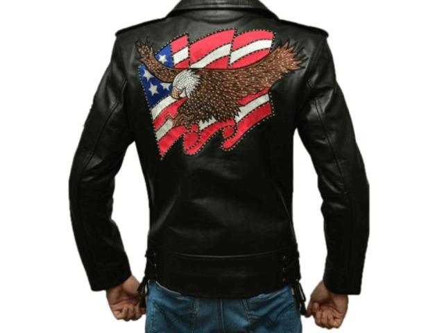 American Eagle Black Leather Jacket slim Fit   free-classifieds-usa.com