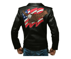 American Eagle Black Leather Jacket slim Fit