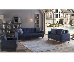 Bergen Convertible Living Room Set in Yakut Navy | Get.Furniture