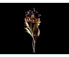 DIAMOND AMETHYST CITRINE ANTIQUE FLOWER PIN