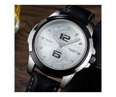 YAZOLE 418 Luminous Leather Strap Fashion Sport Men Watch