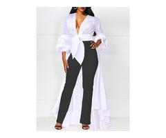 V-Neck Plain Asymmetric Long Womens Blouse