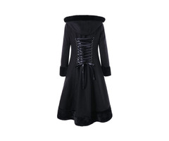 Long Fur Hooded Lace Up Winter Womens Overcoat