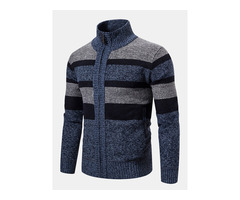 Mens Woolen Knitting Stand Collar Patchwork Thick Casual Jacket | free-classifieds-usa.com