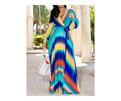 Print Floor-Length V-Neck Stripe Pullover Womens Maxi Dress