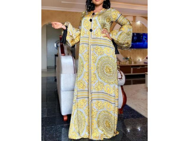 Long Sleeve Print Floor-Length Lantern Sleeve A-Line Womens Dress | free-classifieds-usa.com