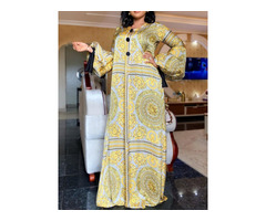 Long Sleeve Print Floor-Length Lantern Sleeve A-Line Womens Dress