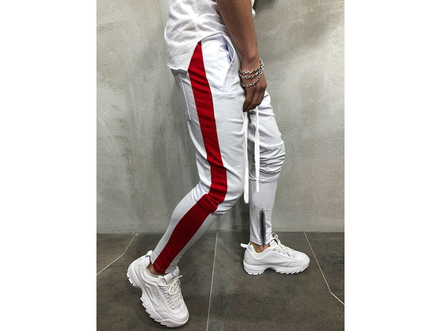 Side Stripe Lace-Up Patchwork Mens Casual Sports Pants   free-classifieds-usa.com