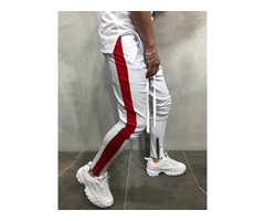 Side Stripe Lace-Up Patchwork Mens Casual Sports Pants