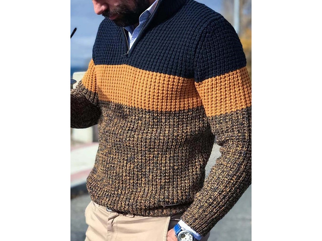 Color Block Casual Style Mens Sweater   free-classifieds-usa.com