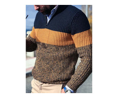 Color Block Casual Style Mens Sweater