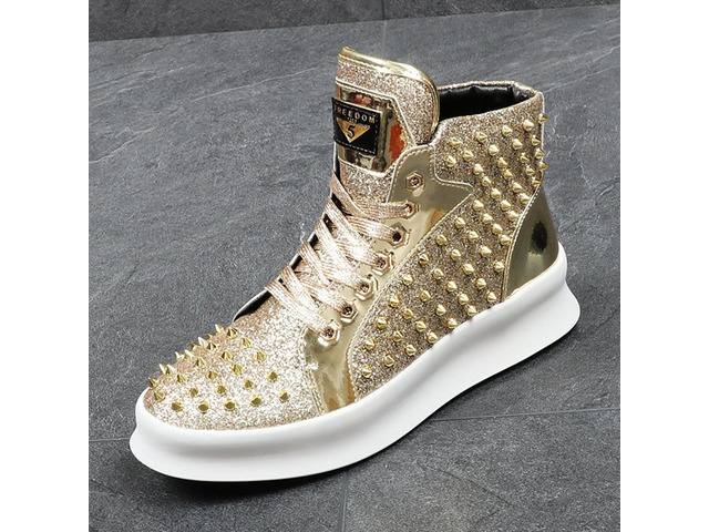 PU Rivets Sequin Lace-Up Mens Shoes | free-classifieds-usa.com