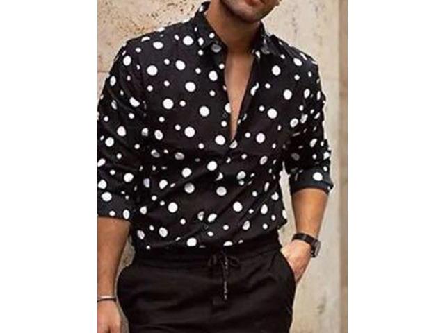 Lapel Print Casual Polka Dots Slim Mens Shirt | free-classifieds-usa.com