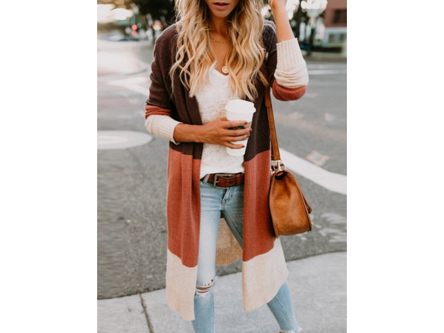 Color Block Long Sleeve Slim Womens Cardigan | free-classifieds-usa.com
