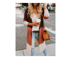 Color Block Long Sleeve Slim Womens Cardigan