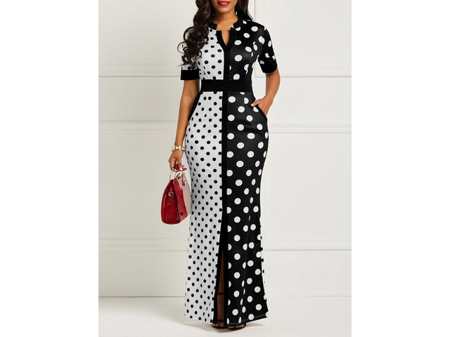 Polka Dots Print Pocket Womens Maxi Dress | free-classifieds-usa.com