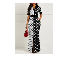 Polka Dots Print Pocket Womens Maxi Dress
