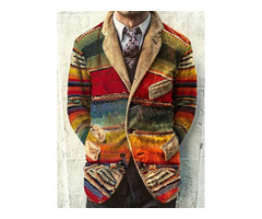 Fashion Color Block Slim Style Patchwork Mens Leisure Blazers