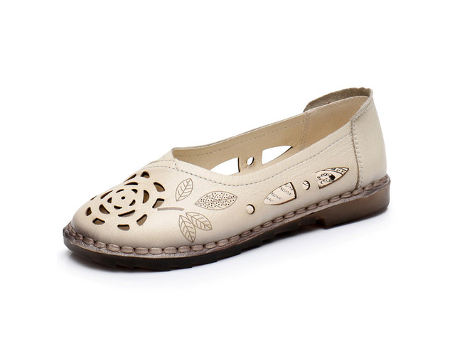 Women Floral Hollow Comfy Non Slip Casual Slip On Loafers | free-classifieds-usa.com