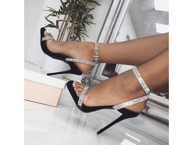Rhinestone Stiletto Heel Buckle Open Toe Womens Sandals | free-classifieds-usa.com