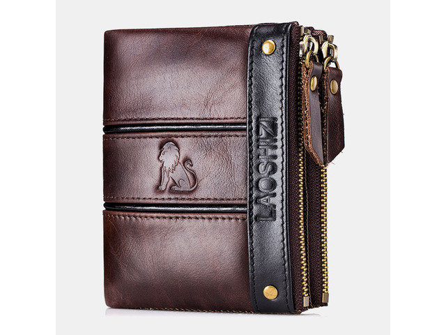Men RFID Blocking Anti-theft Genuine Leather Double Zipper Wallet Coin Bag Card Hodler | free-classifieds-usa.com