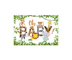 3x5FT 5x7FT Vinyl Oh Baby Elephant Monkey Giraffe Tiger Photography Backdrop Background Studio Prop