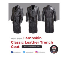MENS BLACK LAMBSKIN CLASSIC LEATHER TRENCH COAT