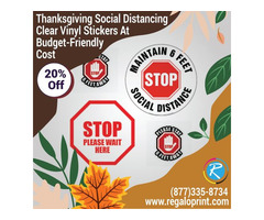 Thanksgiving Social Distancing Clear Vinyl Stickers At Budget-Friendly Cost