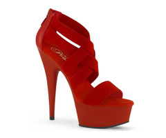 PleaserUSA Delight 609 6″ Red Stiletto Heel Platform Criss-Cross Elastic Straps Sandal