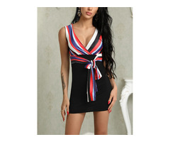 Colorful Stripes Wrapped Belted Mini dress