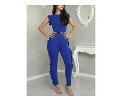 Reversible Solid Ruffled Patchwork Skinny Jumpsuit