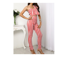 Striped Sweetheart Bow Cropped Top&Pants Set