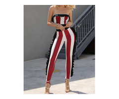 Sexy Ruffle Trim Striped Crop Top and Pants Set