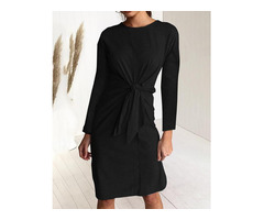 Solid Long Sleeve Twisted Knot Front Casual Dress