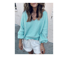 Solid V-Neck Long Sleeve Sweater
