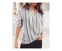 Striped V-Neck Pullover Casual Shirt