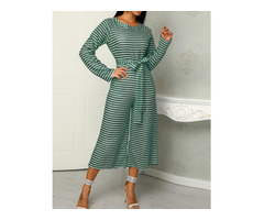 Striped  Long Sleeve Tied Waist Pocket Jumpsuits