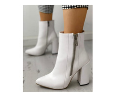 Pointed Toe Zipper Up Chunky Heeled Boots