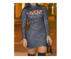 Lace-Up Front Long Sleeve Bodycon Dress