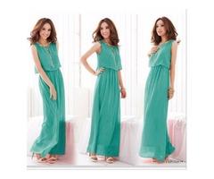 Womens Long Chiffon Bohemian Dress