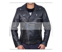 Jeffery Dean Walking Dead Morgan Black Biker Leather Jacket