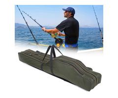 1.2M/1.3M Portable Folding Fishing Rod Bag Fish Pole Tools Storage Bag Holdall Case Carrier Holder