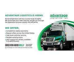 Advantage Logistics is hiring owner/operators with Box trucks/ Large Straights