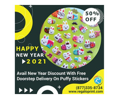 Avail 50% New Year Discount With Free Doorstep Delivery On Puffy Stickers