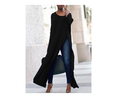 Stylish Solid High Slit Casual Blouse