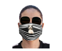 Striped Dog Print Breathable Face Mask With 1PCS Filter