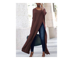 Stylish Solid High Slit Casual Blouse - Coffee