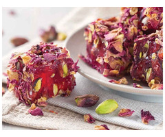 Haci Serif Pomegranate Special Turkish Delight with Pistachio and Rose Leaf 500gr