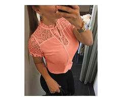 Short Sleeve Lace Insert Casual Blouse