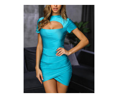 Short Sleeve Cutout Ruched Bodycon Dress